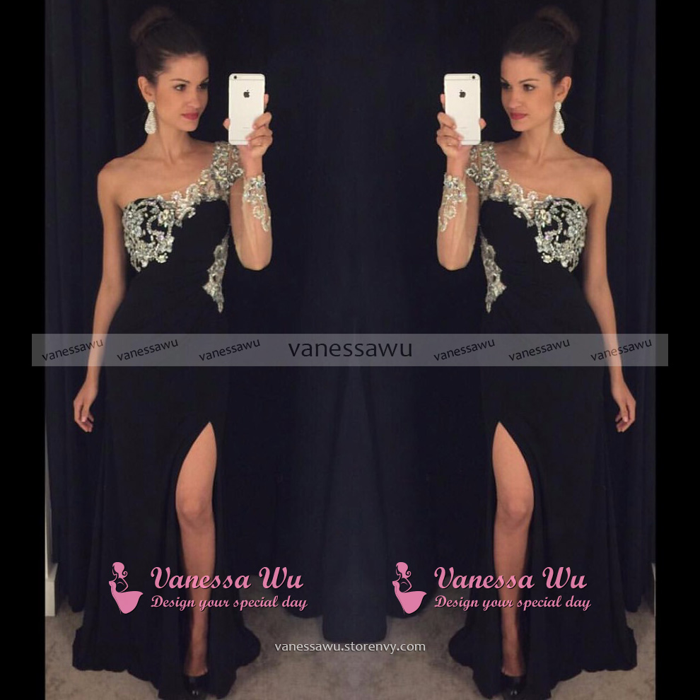 See-through Beaded Prom Dress with Side Slit, Black One Shoulder ...
