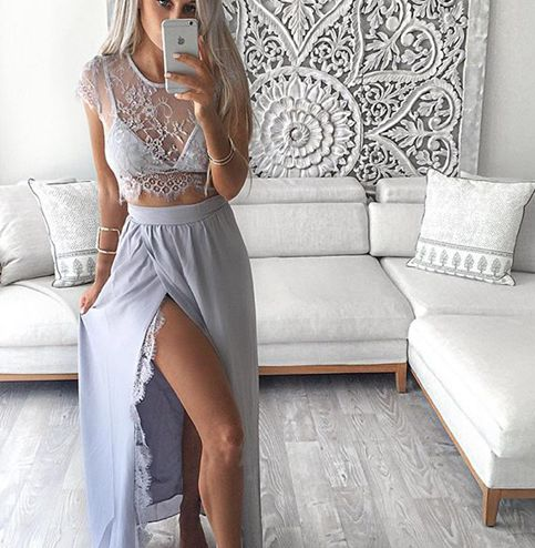 Grey Prom Dressa Line Two Pieces Lace Evening Gown With Silt Formal