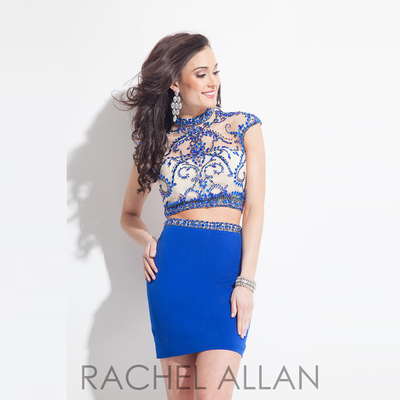 Royal Blue short 2 pieces prom dresses beaded prom dress cap sleeves ...