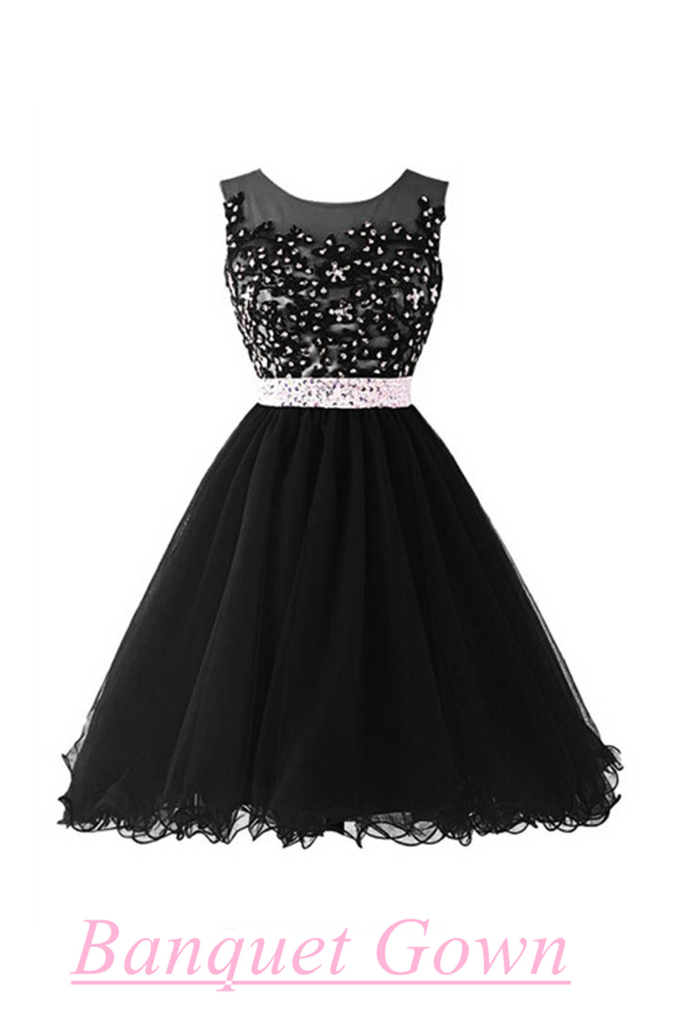 Short Ball Gown Black Beaded Bodice Cap Sleeves Lace Homecoming ...