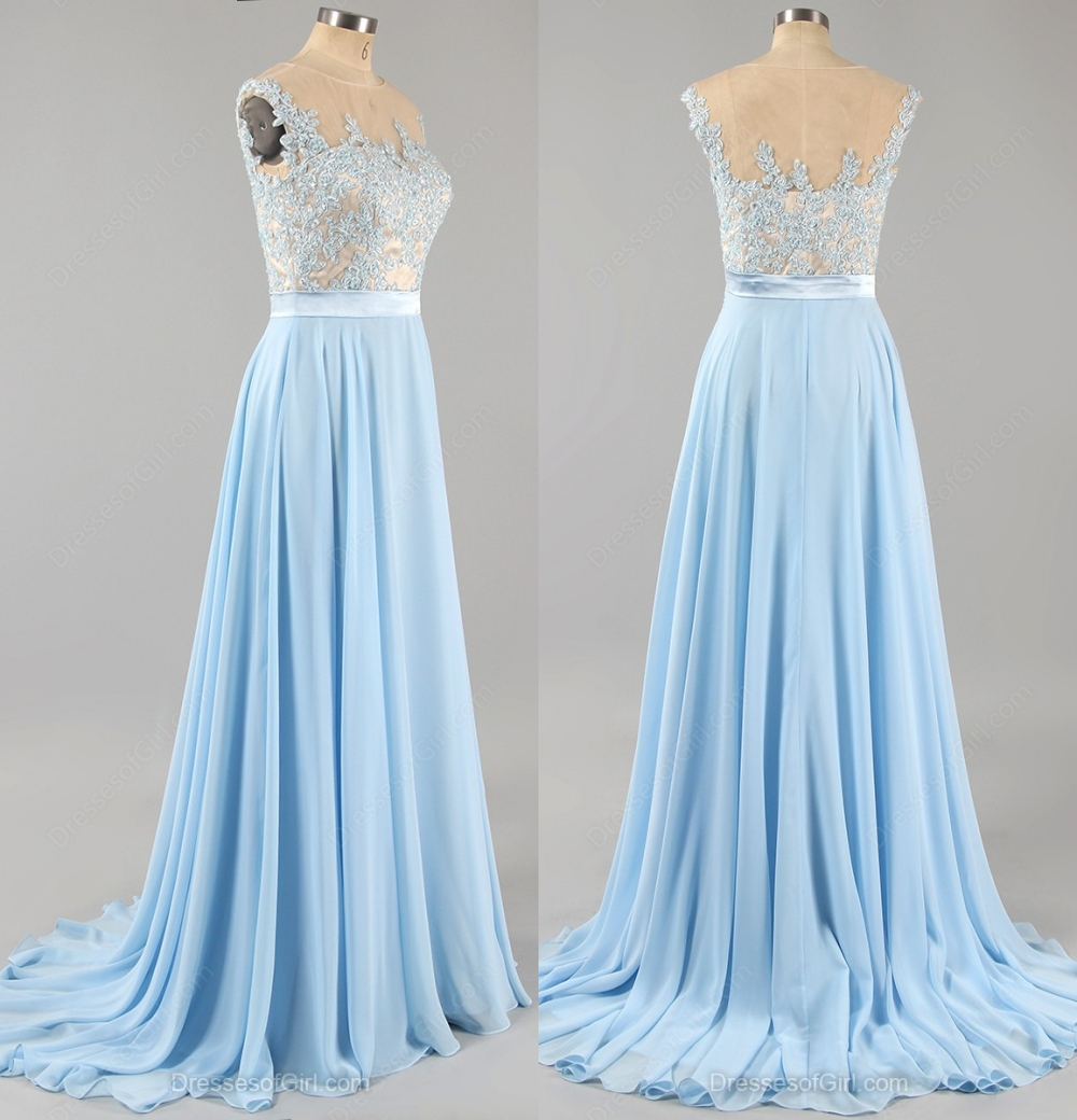 Light Blue Prom Dress with Floral Lace Applique, Cap Sleeve Chiffon ...