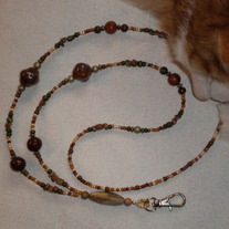 Beaded Lanyard Natural/Green/Rust (Spec. Order)