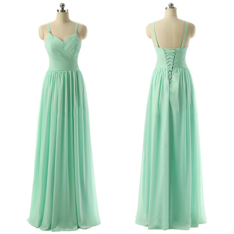 Mint Bridesmaid Dress with Ruching Detail, Discount V-neck ...
