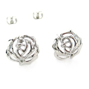 Small Floral Rose Flower Shaped Cut Out Stud Earrings in Silver