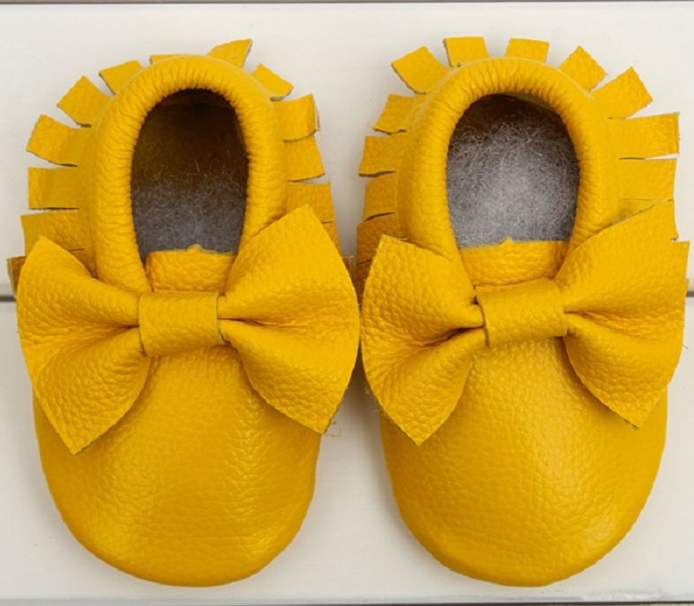 7137e16eaa Baby Moccasins - Mustard Yellow Leather with Bow · Blush + Willow