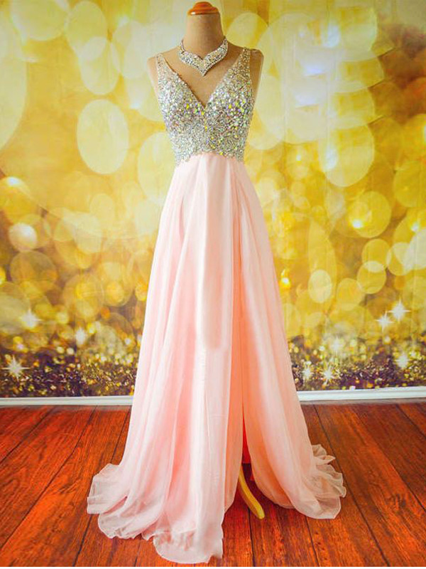 sexy prom dresses,Pink A-line V-neck Floor-length Chiffon Evening ...