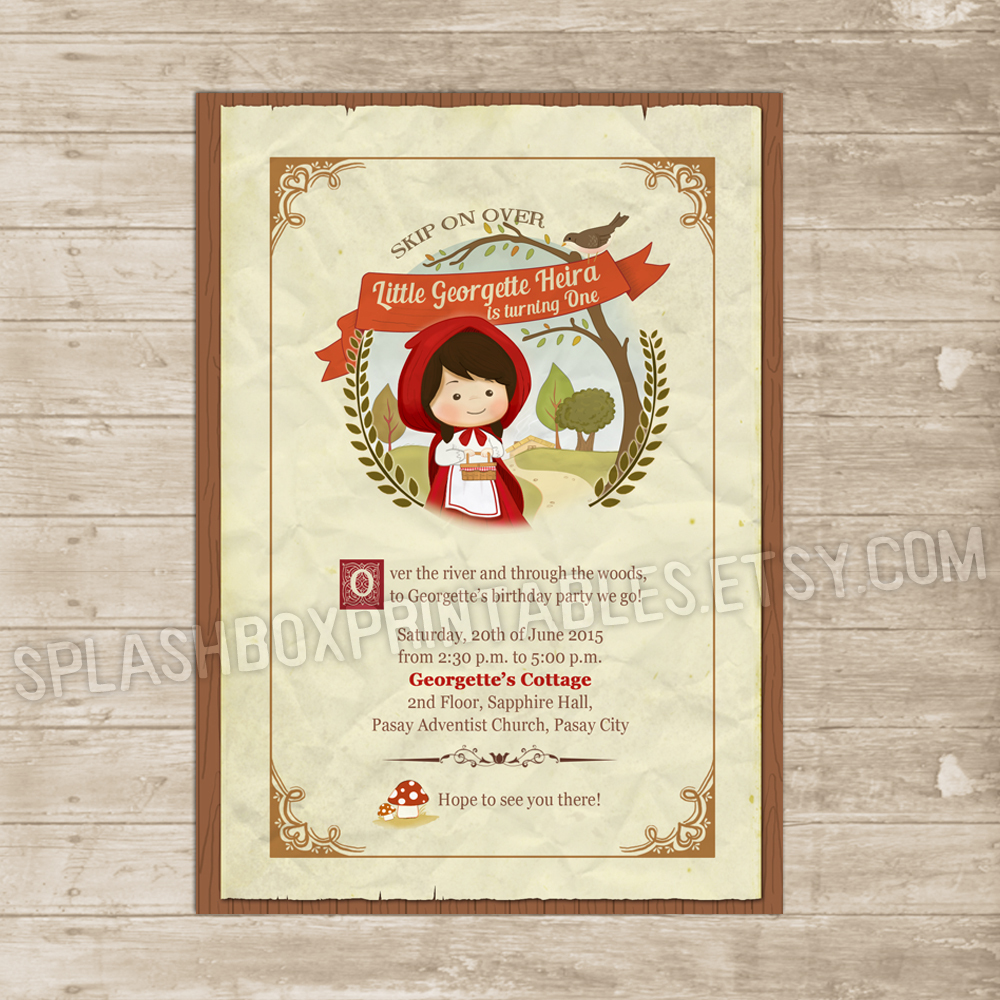 Little red riding hood invitation woodland invite fairy tale woods little red riding hood invitation woodland invite fairy tale woods printable birthday card thumbnail 1 stopboris Image collections