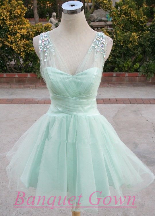 Light Mint Green Party Dresses,Cute Prom Gown,Lovely Homecoming ...