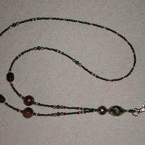 Beaded Lanyard Green/Silver/Brown