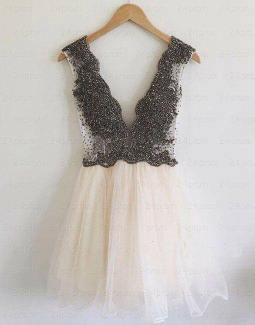 V-Neck Beading A-Line Short Prom Dress,Homecoming Dress,Graduation ...