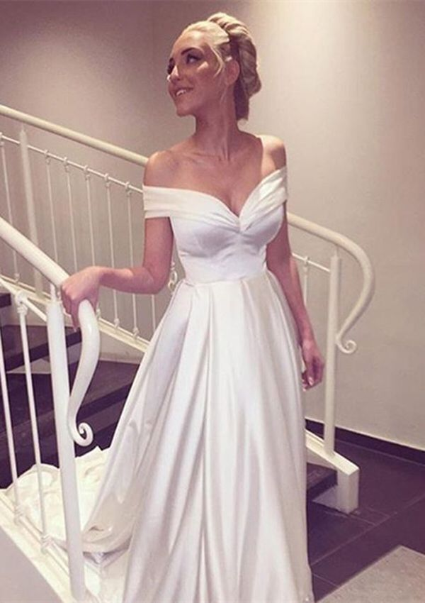 WD07 Off the shoulder Charming Wedding Dresses,A-Line Long Train ...