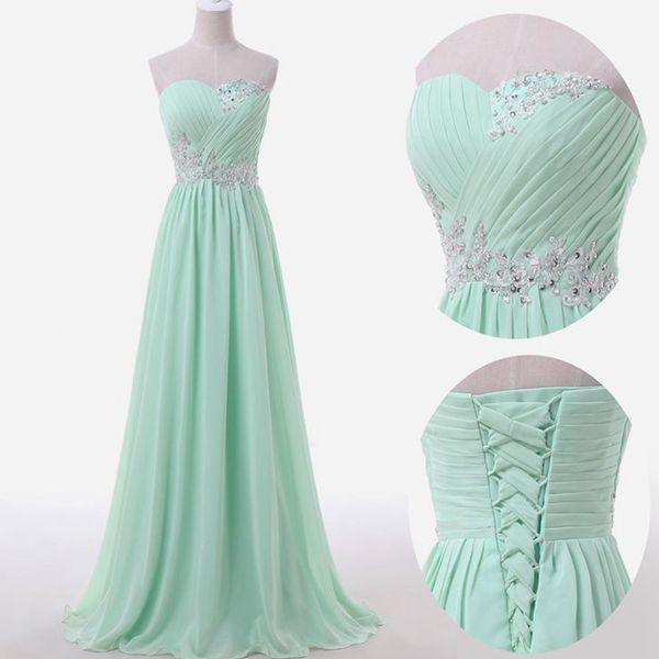 Mint Green Prom Dresses,Sweetheart A-line Chiffon Long Prom Dresses ...