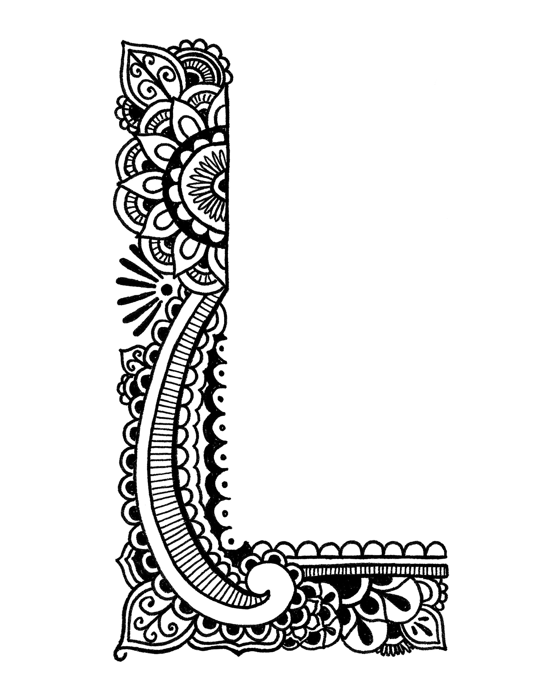 Coloring pages henna -  Coloring Pages Henna Alphabet Thumbnail 3