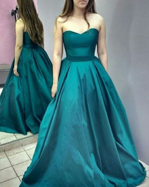 Teal Strapless A Line Satin Formal Gown Prom Dress