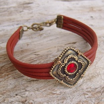 Red Leather Bracelet with Antique Gold Medallion and Red Crystal