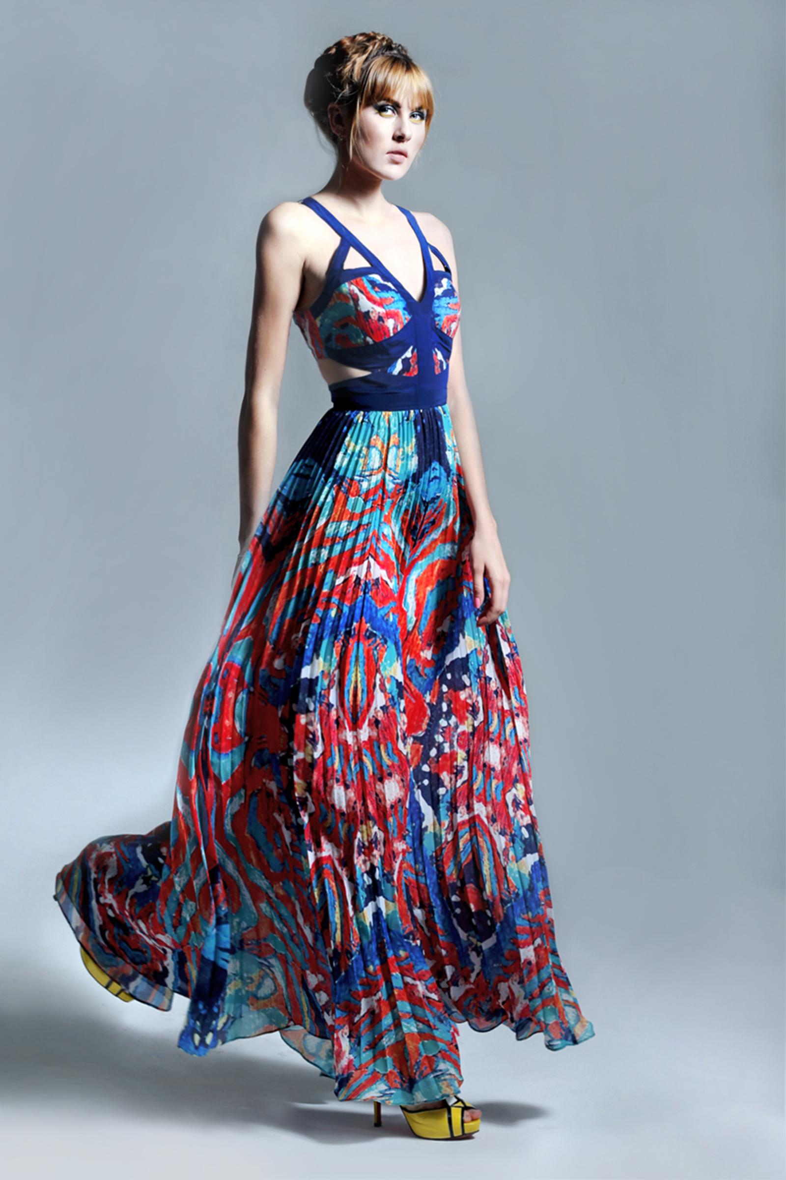 Cutout Maxi Dress - Oceanic Print · kris jane · Online Store ...