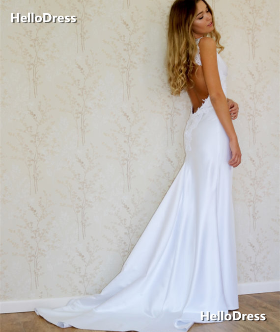 Backless Fit To Flare Satin Wedding Dress With Lace Straps