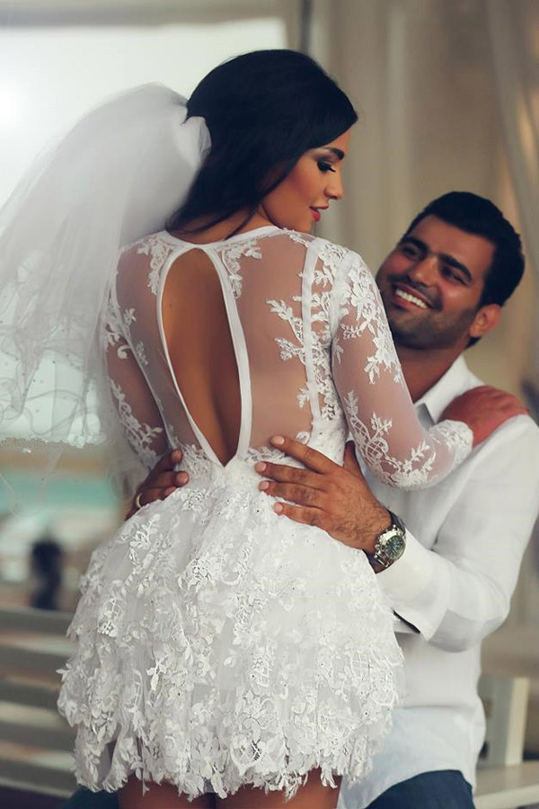 Mini Wedding Dress,Long Sleeve Wedding Dress,Lace Wedding Dresses ...