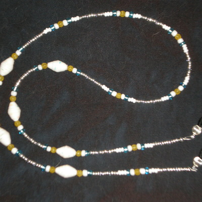Beaded eyeglass chain white&blue&yellow/paper-wrapped beads