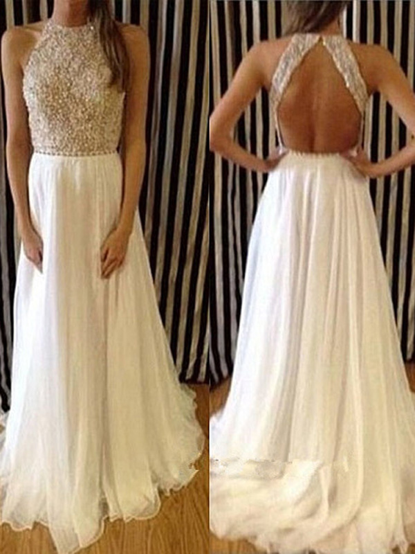 sparkly prom dresses,White A-line Scoop Floor-length Chiffon Evening ...