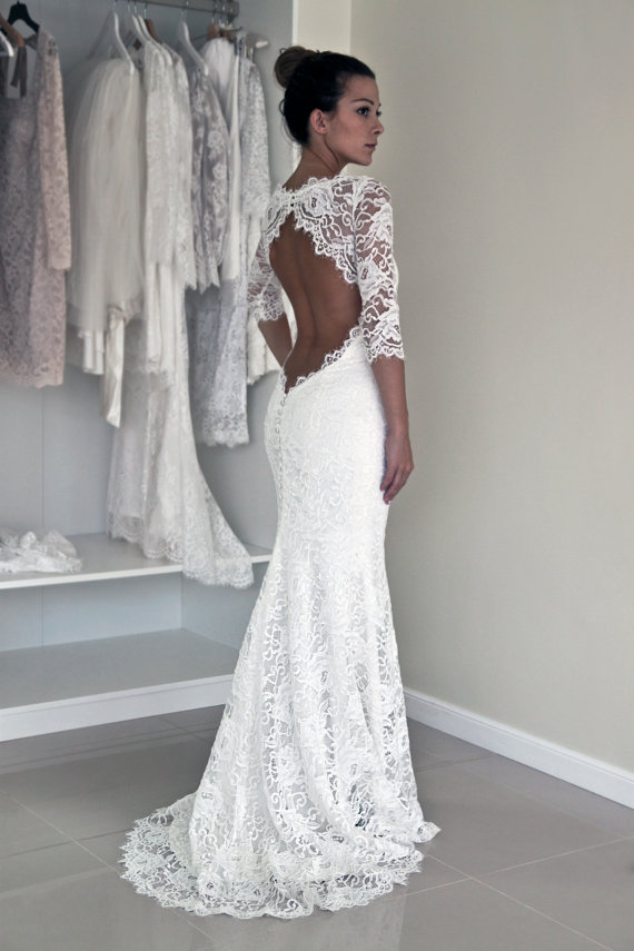 Amazing New Arrival Sheath Wedding Dresses, Lace Wedding Gowns, The Elegant Bridal  Dresses,Backless