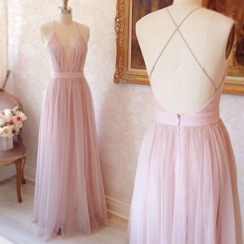 Pretty pink V-neck tulle prom dress,evening dress,formal dresses ...