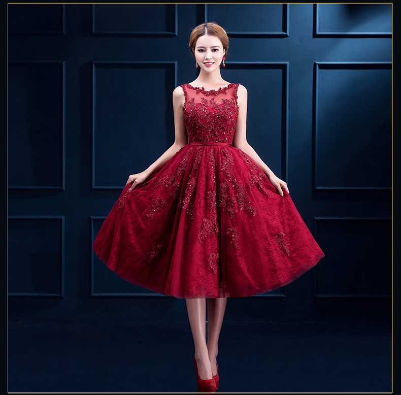 J31 Robe De Soiree New Wine Red Lace Embroidery Sleeveless A-line ...