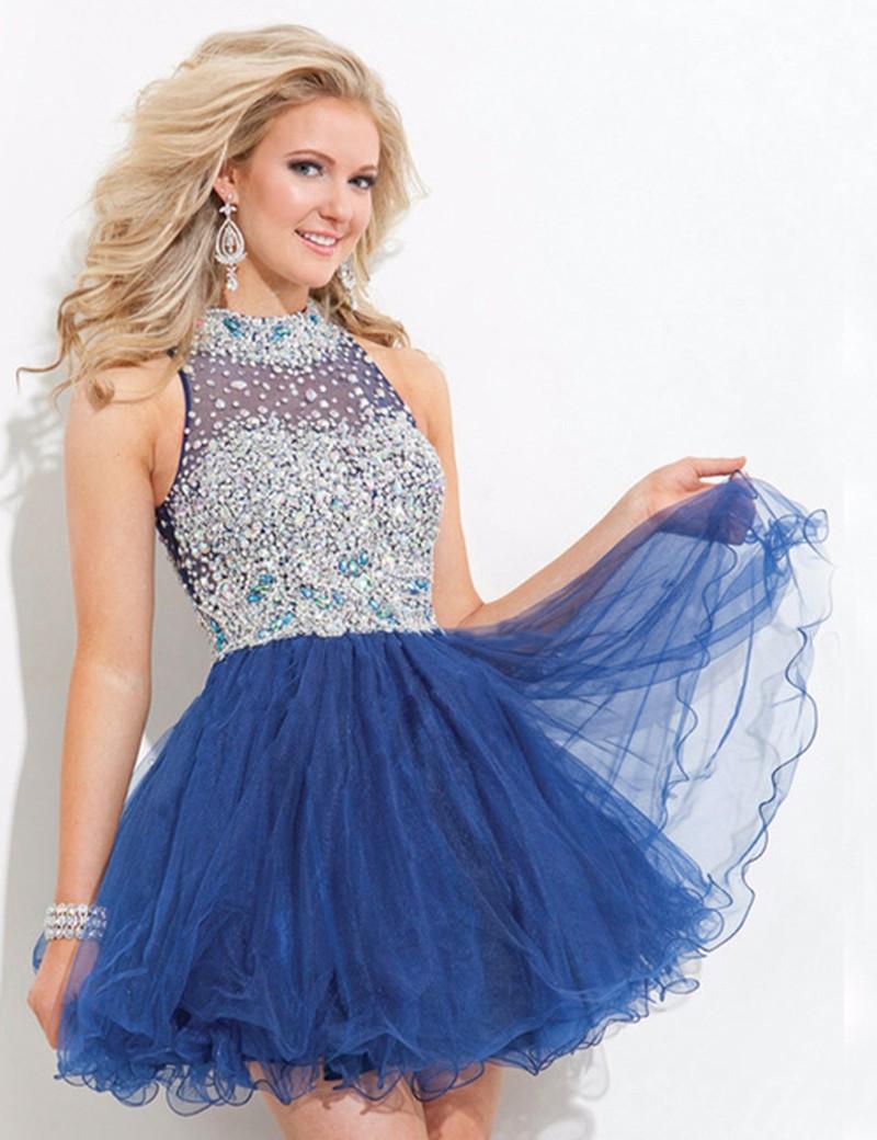 J34 2016 Mint green Navy Blue Peach Puffy Party Dress High Neck ...