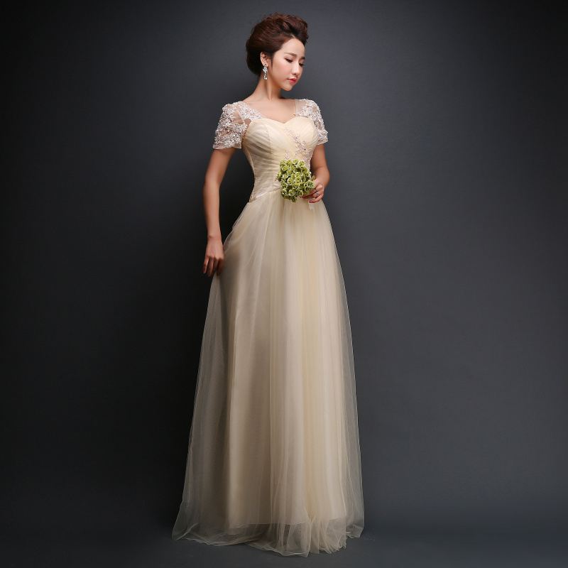 J37 Champagne Long Evening Dress New Lace Embroidery Beading A-line ...
