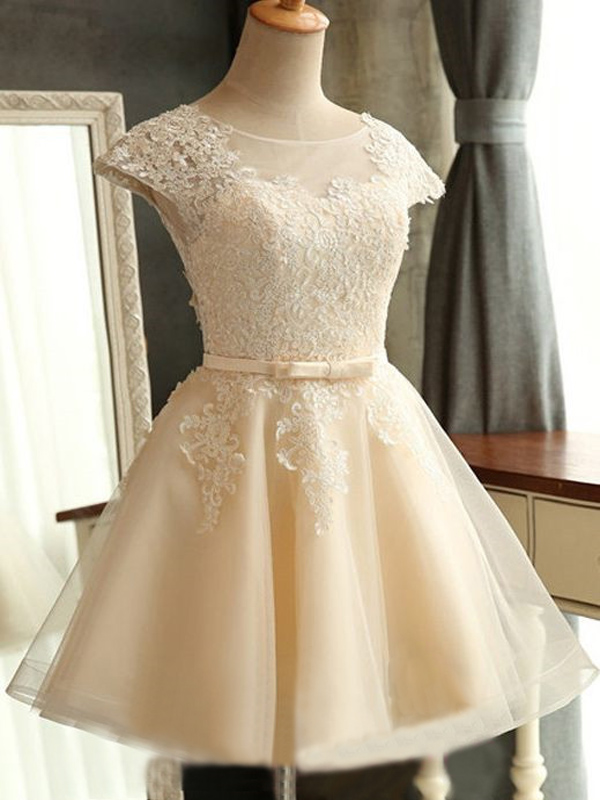 short cute simple homecoming dress, lace pretty homecoming dress ...