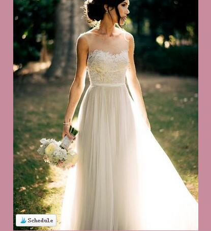 Elegant Simple Wedding Dress,Round Neck White Long Wedding Dress,Romantic  Beach Wedding Dress