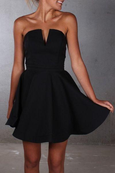 cute black prom dress,short homecoming dress,chiffon prom dress ...