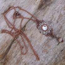 Copper and Silver with Crystal Pendant and Necklace