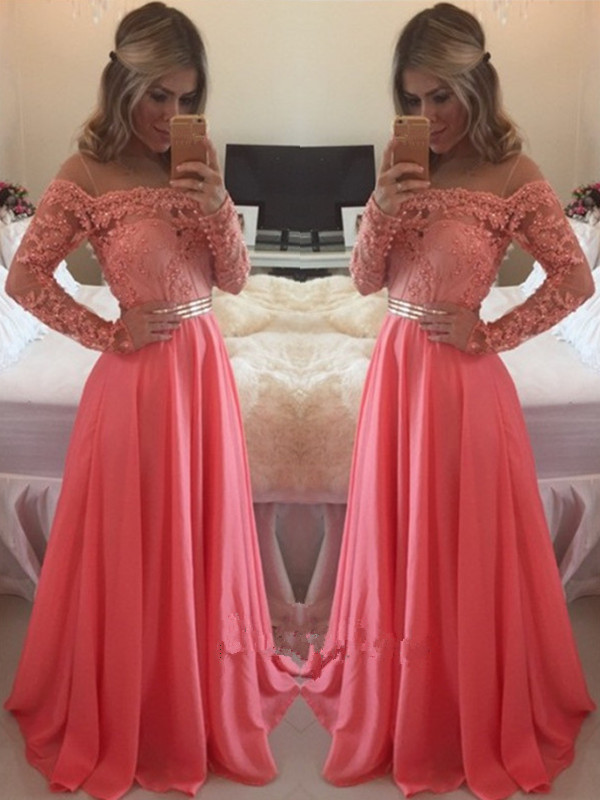 J73 Custom Made A Line Floor Length Long Sleeves Coral Lace Prom ...