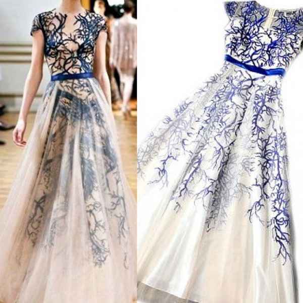 different prom dresses,Royal Blue A-line Scoop Floor-length Tulle ...