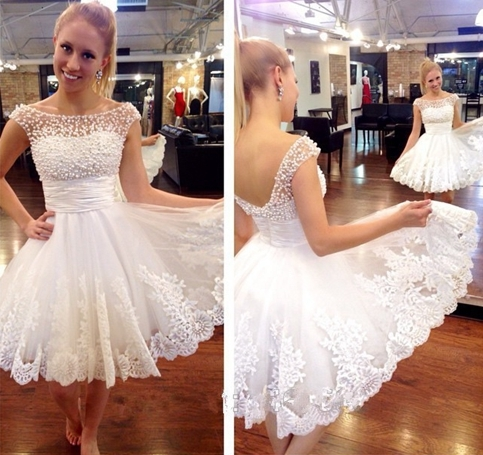 Little Cute | White lace short prom dress,homecoming dress, | Online ...