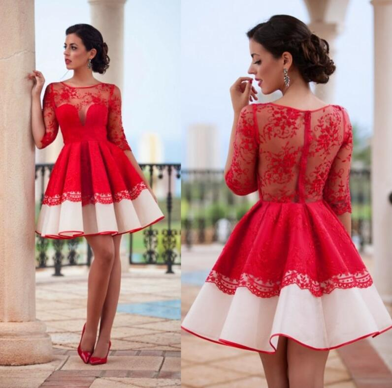 Mini red dress with long sleeves