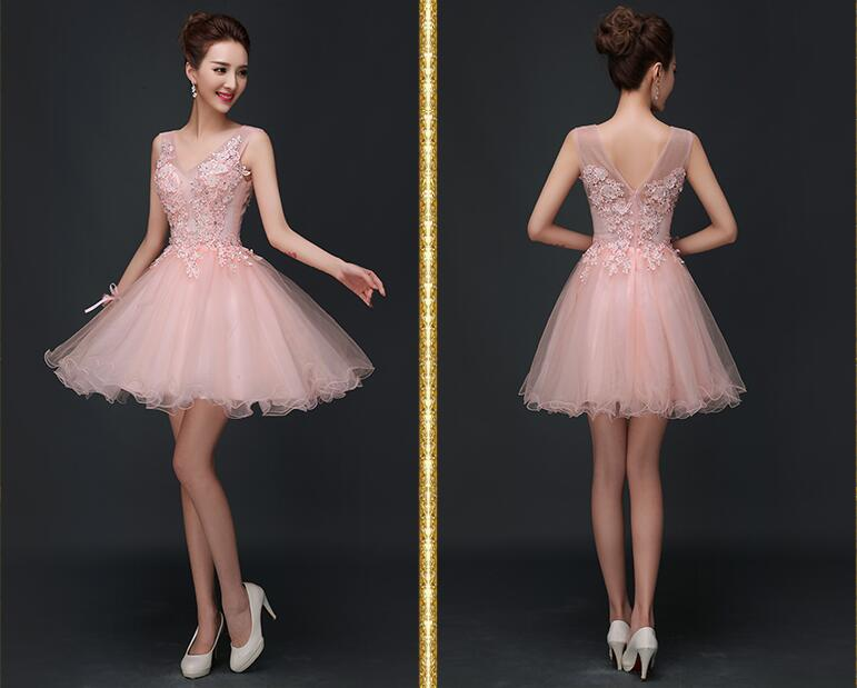 Blush Pink Short Prom dresses, Lace Homecoming dresses, Short Prom ...