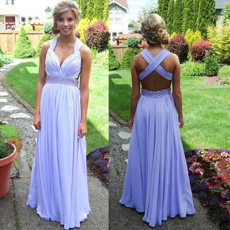 Backless prom dress, Lavender prom dress, elegant prom dress, long ...