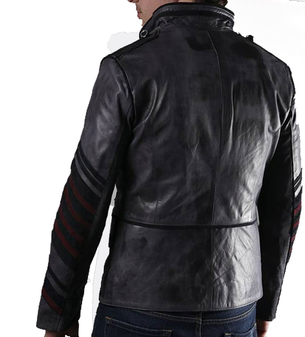 Military Men Black Biker Leather Jacket · leatherghar · Online ...