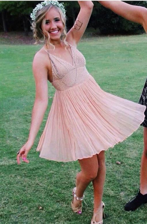 A-line V-neck Beaded Sparkly Homecoming Dresses,Senior Hoco Dresses ...