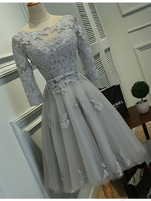 Gray Homecoming Dresses With Half Sleeves Lace Appliqued