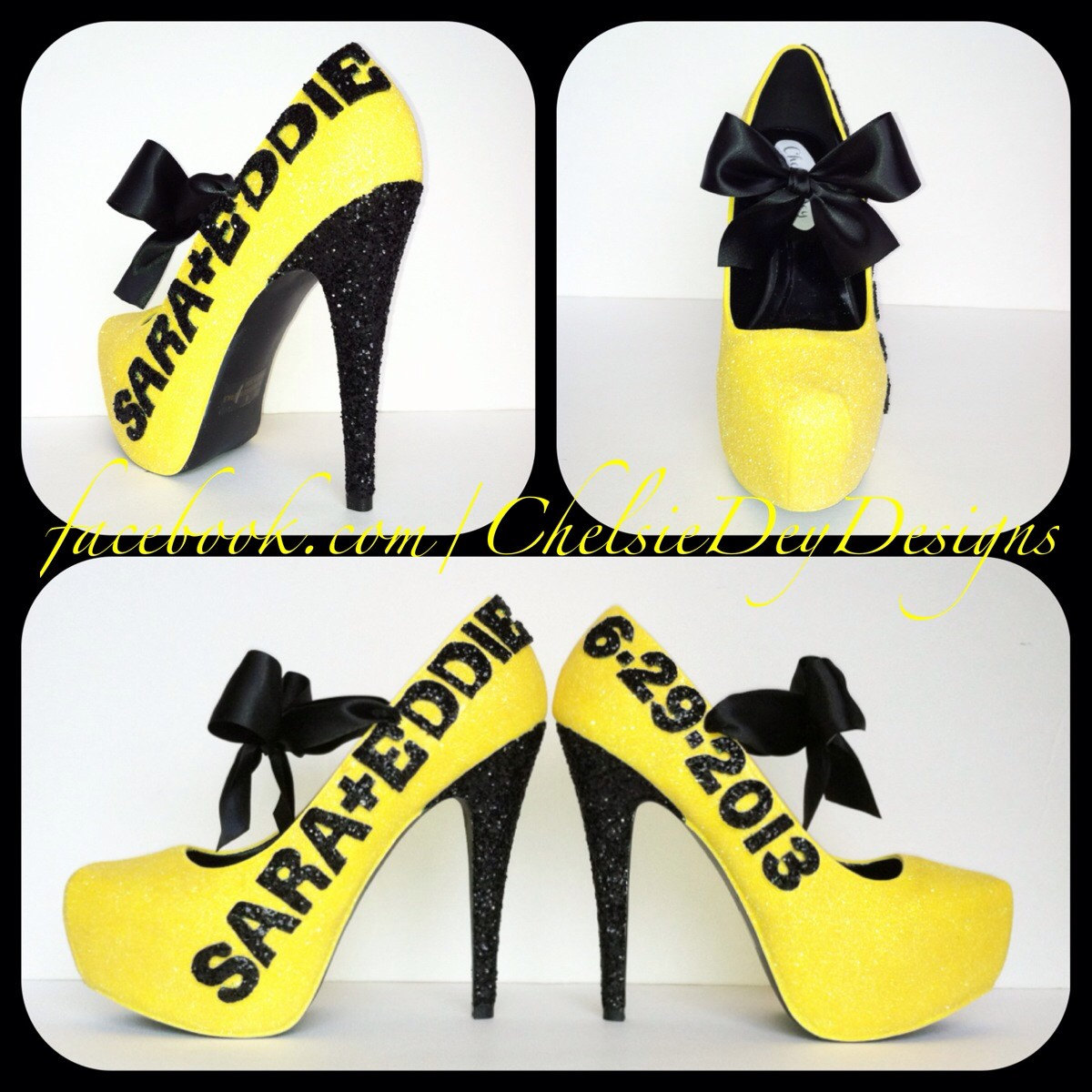 Glitter High Heels - Black and Yellow Pumps - Last Name and ...