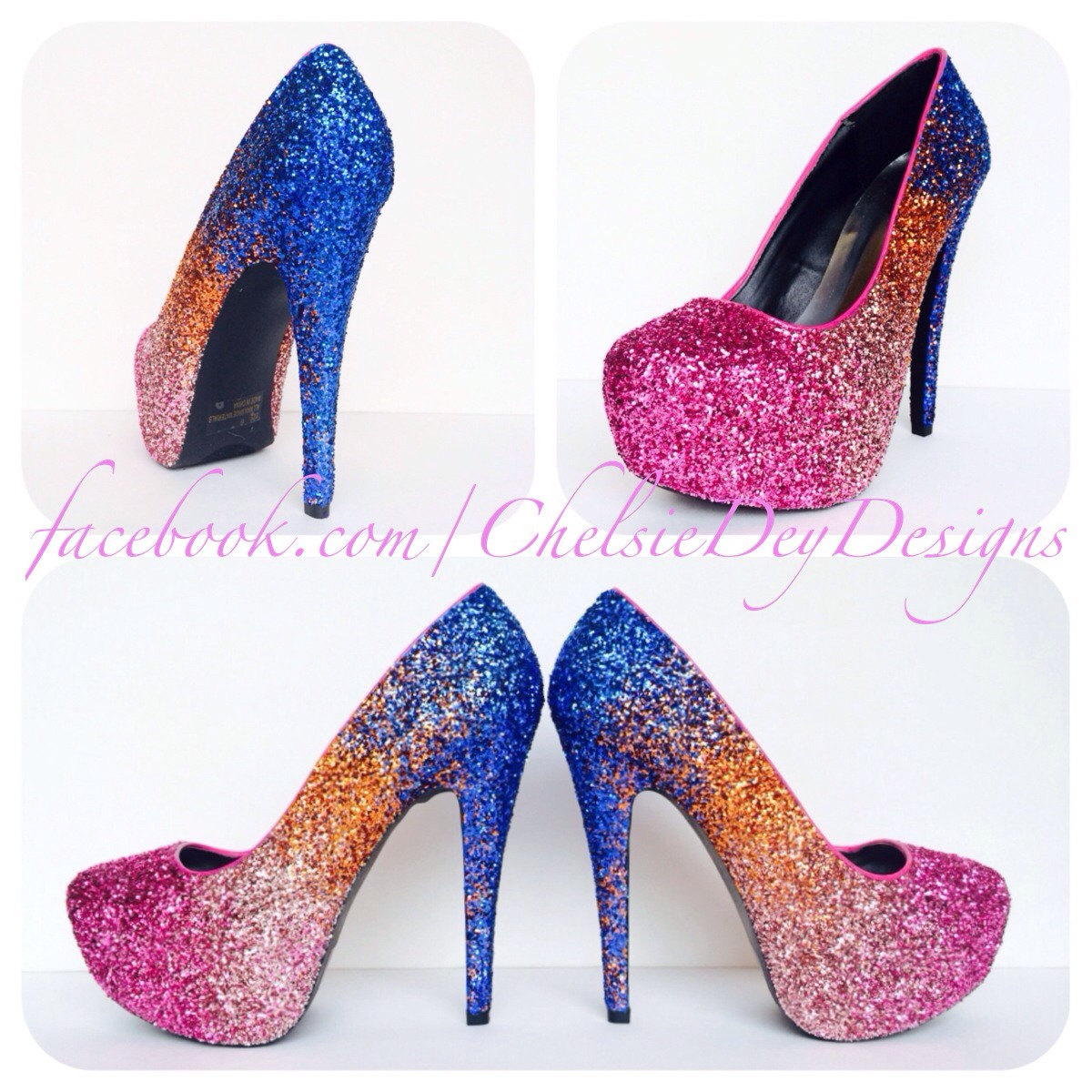 Ombre Glitter High Heels, Hot Pink Orange Blue Platform Pumps ...