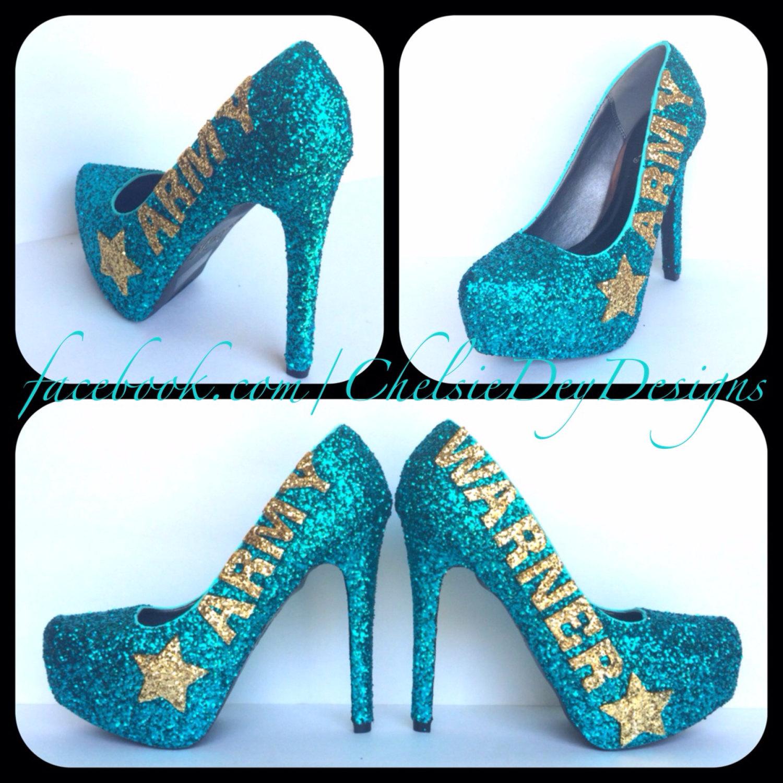 Army Glitter High Heels - Teal Gold Pumps - Last Name Star Platform ...
