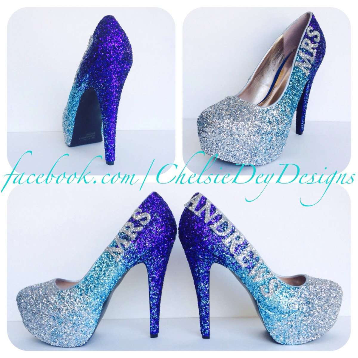 Aqua Glitter High Heels - Silver Turquoise Blue Royal Purple Pumps