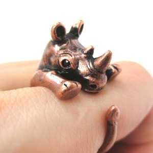 3D Rhinoceros Rhino Animal Hug Wrap Ring in Copper - Sizes 5 to 10