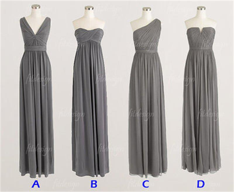gray bridesmaid dress, long bridesmaid dress, chiffon bridesmaid ...