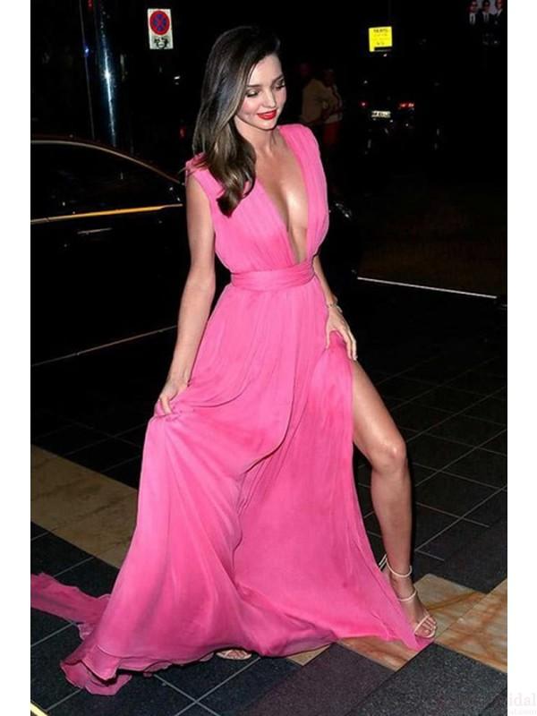 Hot pink prom dresses, deep v-neck prom dresses, side slit prom ...