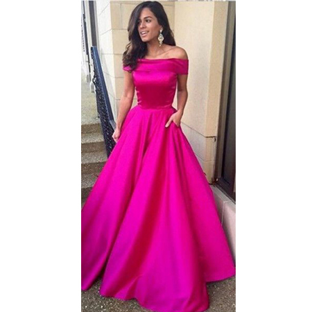 hot pink off shoulder prom dresses ball gown evening